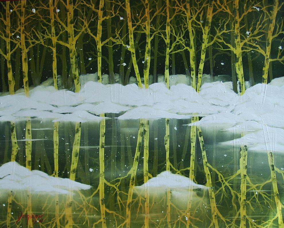 Birken im Eissee gelb, Öl auf Strukturpapier. Landschaftsgemälde by Daninas-Kunst-Werkstatt. Das in warmen Farben gemalte Bild eignet sich hervorragend für Ihr Wohnzimmer oder Kinderzimmer. Welche Farben in welchem Zimmer? Mehr Infos auf meiner Website …