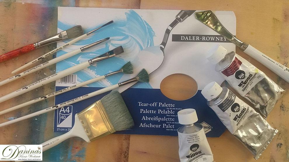 Abreißpalette, Ölfarben, Pinsel und Spachtel