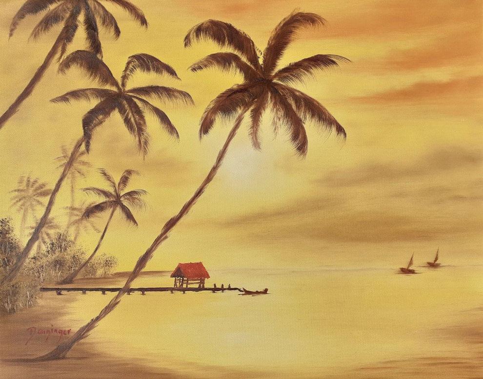 Hawaii Palmen am Strand, Öl auf Strukturpapier. Gemaltes Landschaftsgemälde by Daninas-Kunst-Werkstatt.at