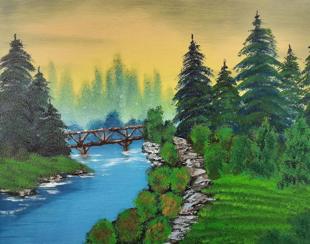 Brücke am  Fluss, Ölbild auf Leinwand. Landschaftsgemälde by Daninas-Kunst-Werkstatt.