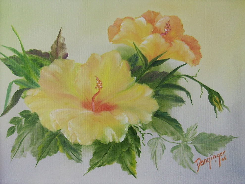 Hibiskus gelb, Ölbild auf Leinwand. Original gemaltes Blumengemälde by Daninas-Kunst-Werkstatt