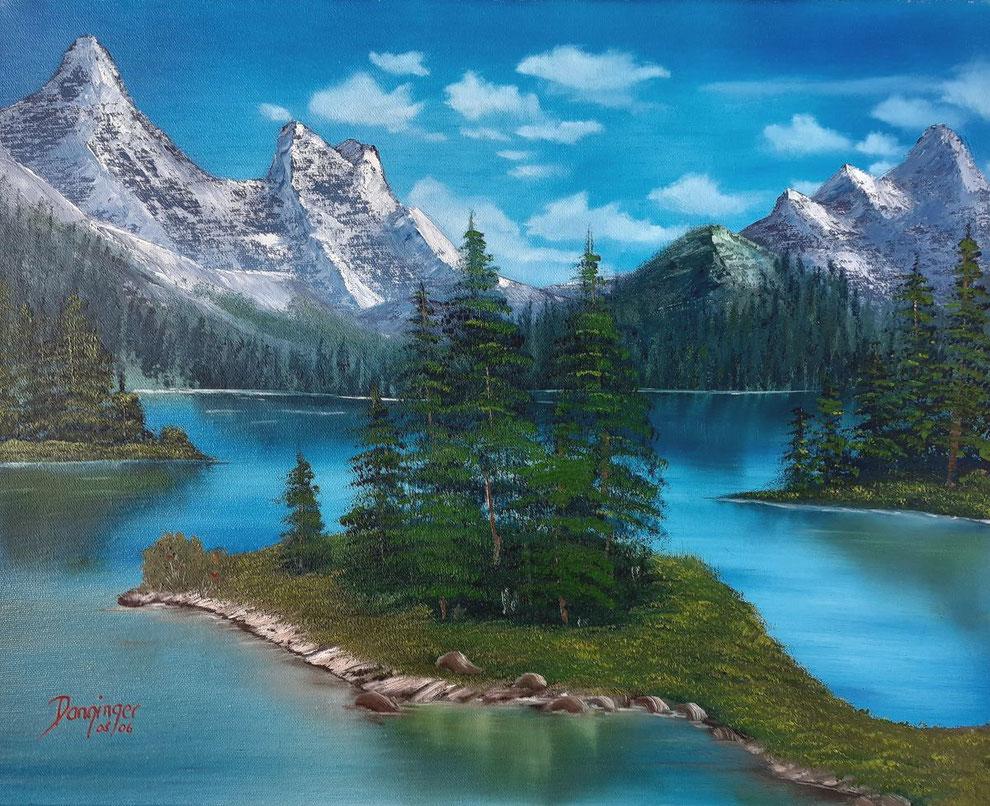 Kanada Jasper National Park Maligne See, Öl auf Leinwand. Gemaltes Landschaftsgemälde by Daninas-Kunst-Werkstatt.at