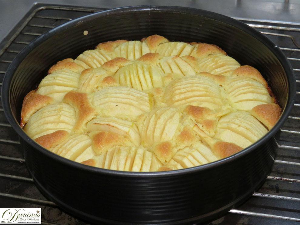 Feiner Apfelkuchen leicht gebräunt nach dem Backen