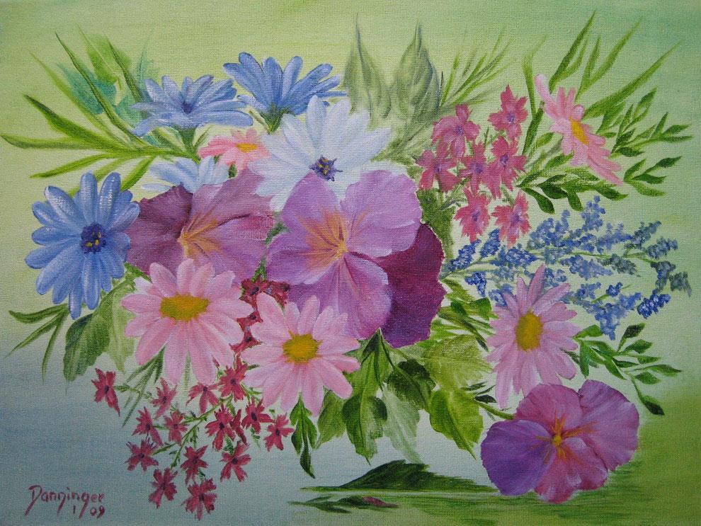 Bunte Blumen, Ölbild auf Leinwand. Handgemaltes Blumengemälde by Daninas-Kunst-Werkstatt.