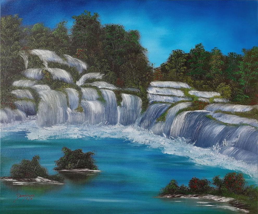 Krk Wasserfälle, Öl auf Leinwand. Gemaltes Landschaftsgemälde by Daninas-Kunst-Werkstatt.at