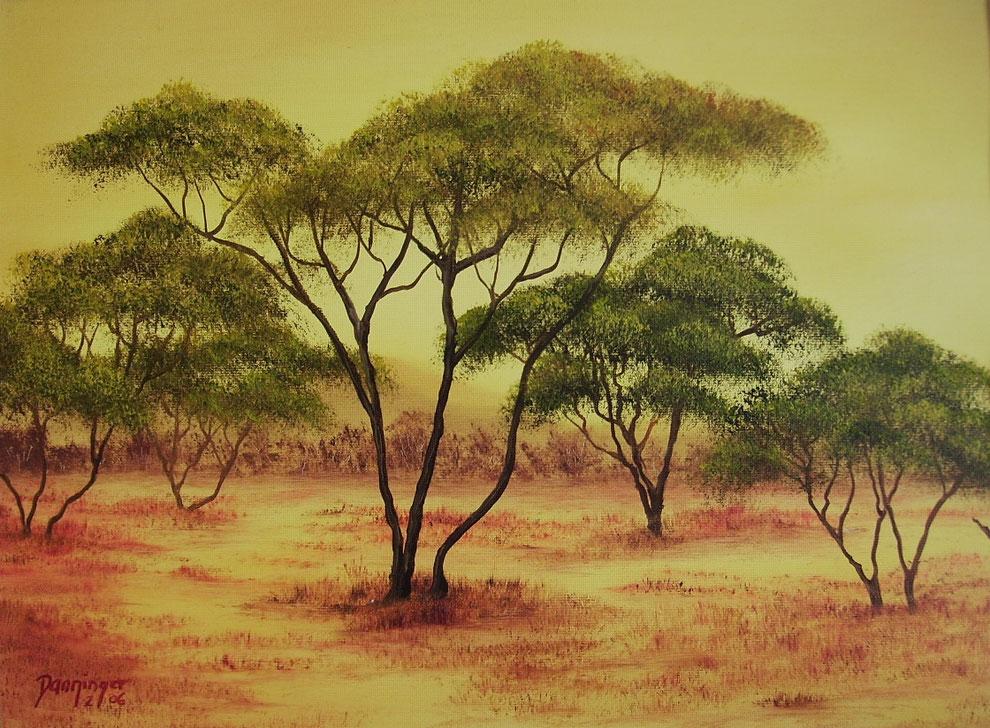Afrika Kalahari, Öl auf Strukturpapier. Gemaltes Landschaftsgemälde by Daninas-Kunst-Werkstatt.at