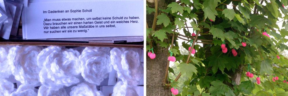 Weisse Haekelrosen als Guerilla Knitting Aktion am Todestag von Sophie Scholl // Haekelkirschen für den Textilen Kunstwanderweg