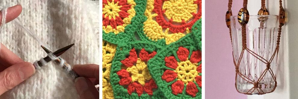 Kurse und Workshops Stricken rechte Maschen // Haekeln Granny Square // Makramee Plant Hanger Blumenampel