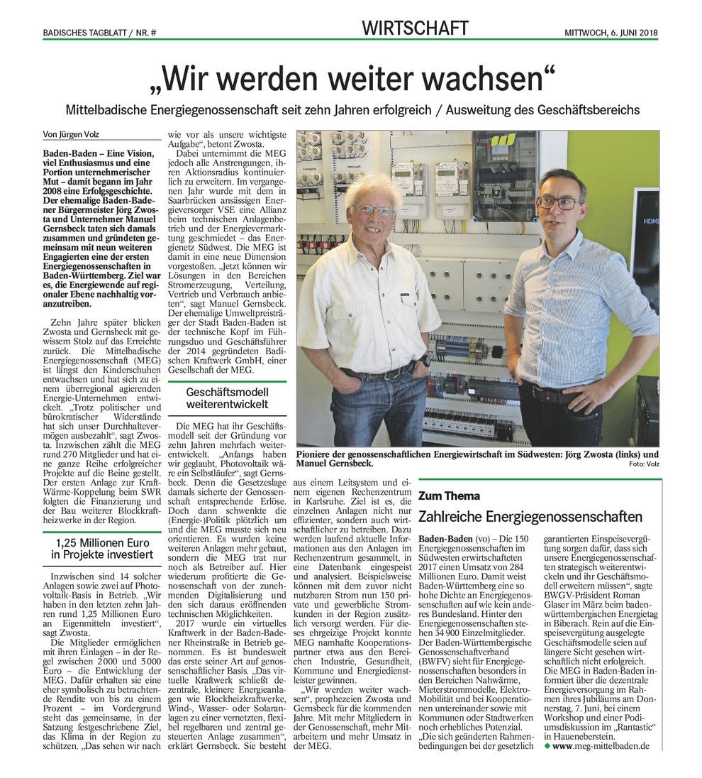 Presse: Badisches Tagblatt, 6. Juni 2018