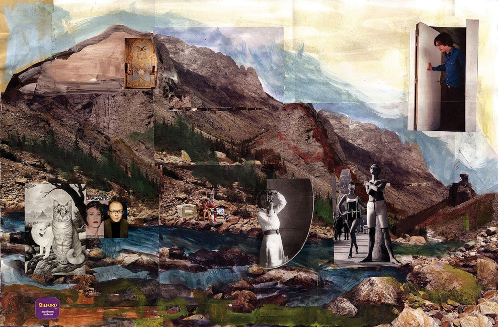 Mountain, 80x105cm, 2014, collage, acrylic, digital print on canvas