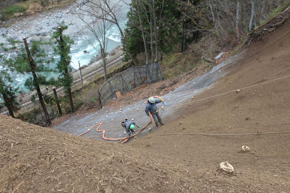 のり面保護工事(JR大糸線沿線)リバーソイル工法で土砂崩壊斜面を復旧