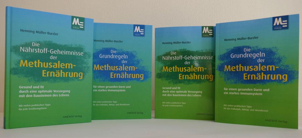 """Hard- und Softcoverversionen von """"Die Nährstoff-Geheimnisse der Methusalem-Ernährung"""" und """"Die Grundregeln der Methusalem-Ernährung"""", ANEWIS Verlag"""