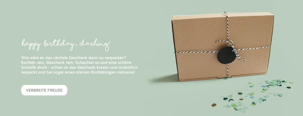 hundsoadli Versandbox wiederverwerten als Idee zum Geschenke schön verpacken