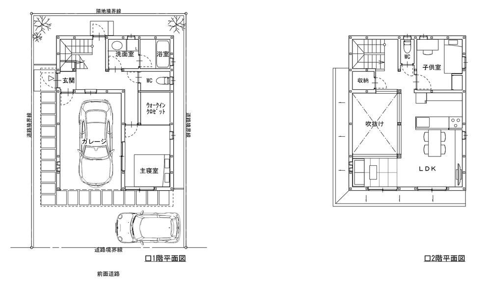 シンプル ガレージハウス プラン 建築家