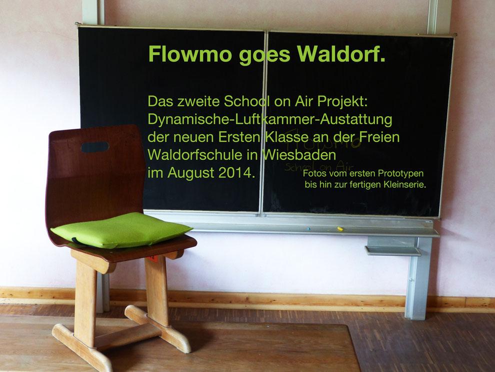 Ergonomisches Sitzkissen Bürostuhl Pad: FLOWMO als maßangefertigte Raumausstattung einer Walddorfschulklasse