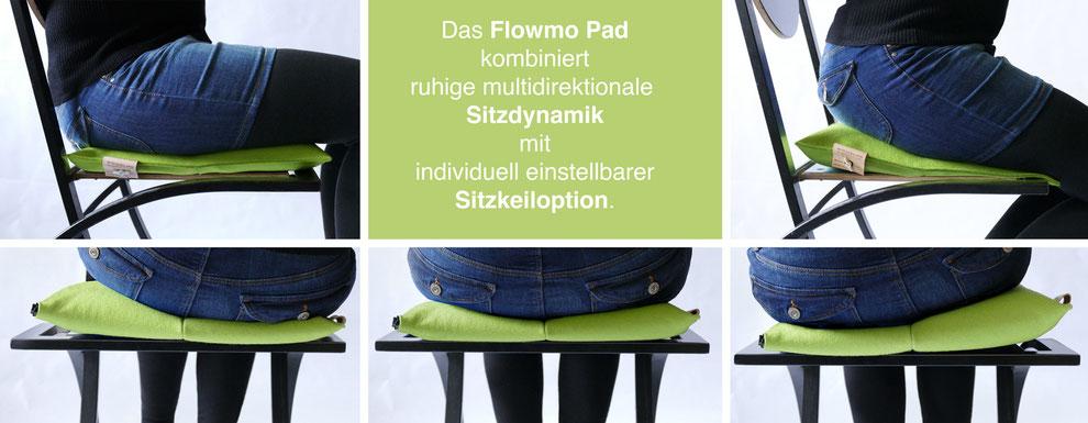 Sitzkissen Bürostuhl Pad ohne und mit Sitzkeil und beim dynamischen Sitzen: Das Flowmo Pad kombiniert ruhige multidirektionale Sitzdynamik mit individuell einstellbarer Sitzkeiloption.