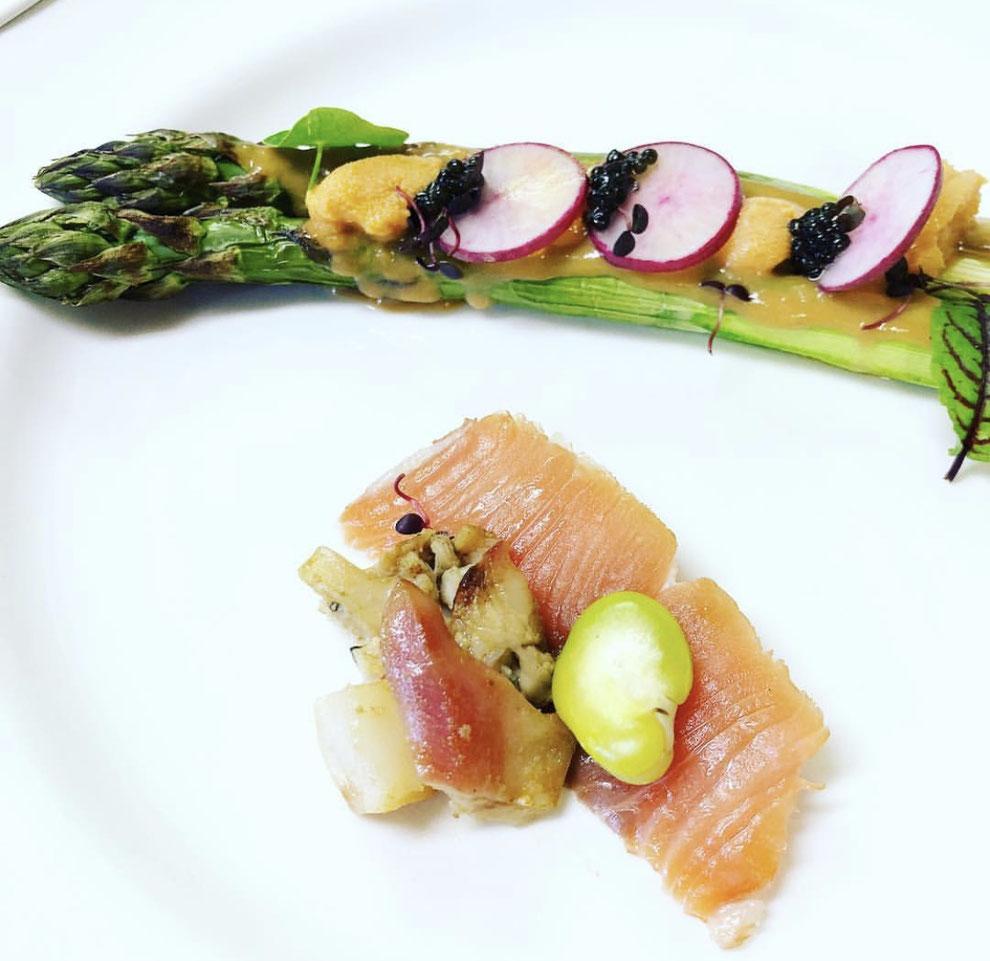 季節の素材を使った前菜 北海道の食材を使ったランチメニュー 仙鳳趾の牡蠣 旬の野菜