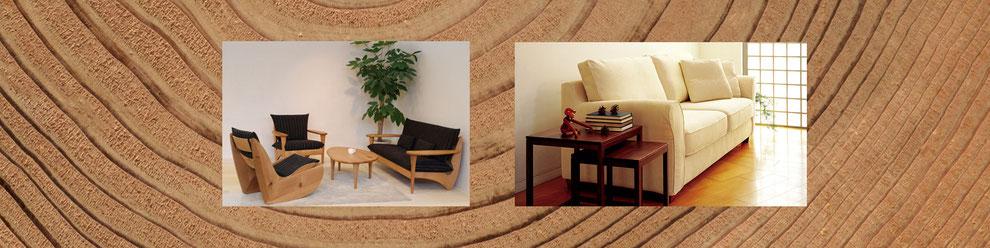 インテリア イメージ ウッドを背景に家具の商品写真