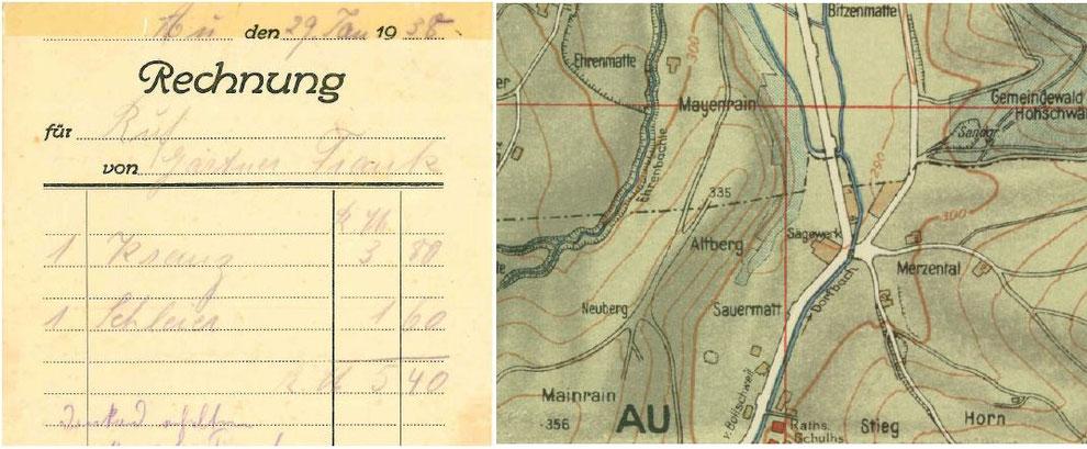Rechnung und Kartenausschnitt von 1938