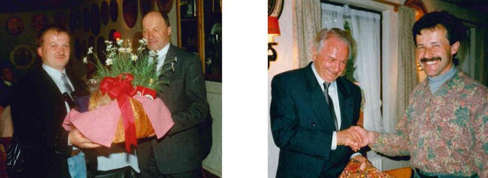 Roman Gutmann gratuliert Walter Jörger und Herbert Frank Marcell Waltzer