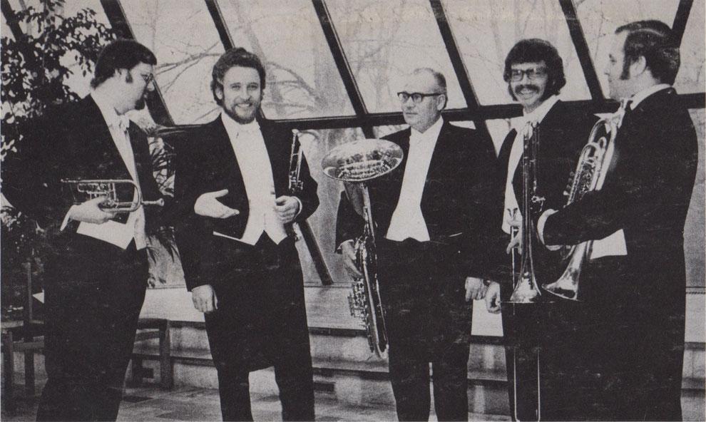 Das Berliner Blechbläserquintett (v.l.: Michael Kringel, Arno Lange, Gerhard Vellmerk, Ernst Giehl und Wolfgang Hagen)