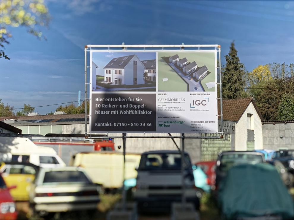 Aufstellung Bauschild Ötisheim - Steidachstrasse 3