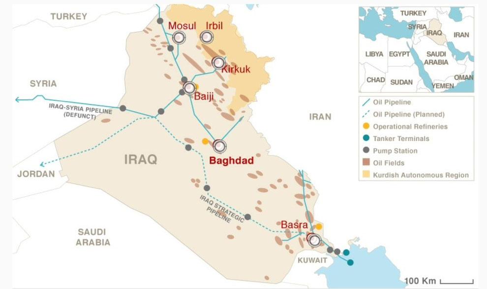 Wo ist das Öl im Irak? (Quelle: CNN, 17. August 2014)