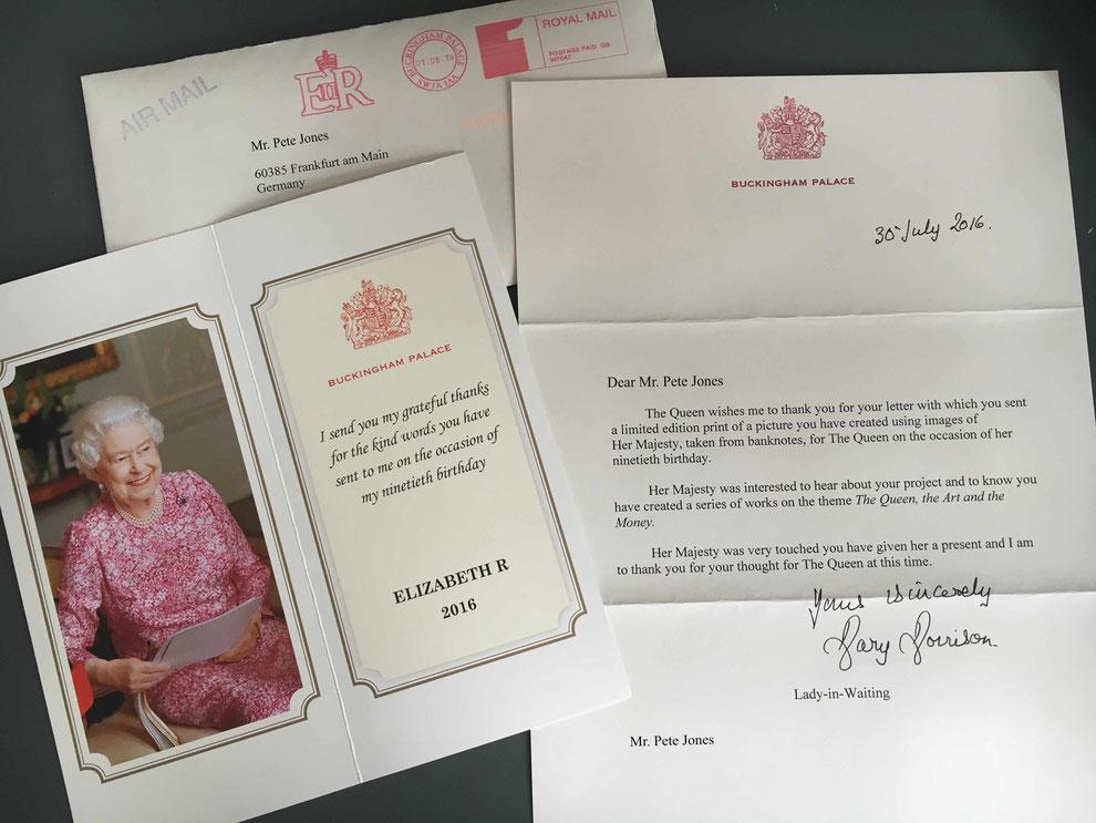 Her Majesty seems to like it! Dankschreiben meines berühmtesten Models.