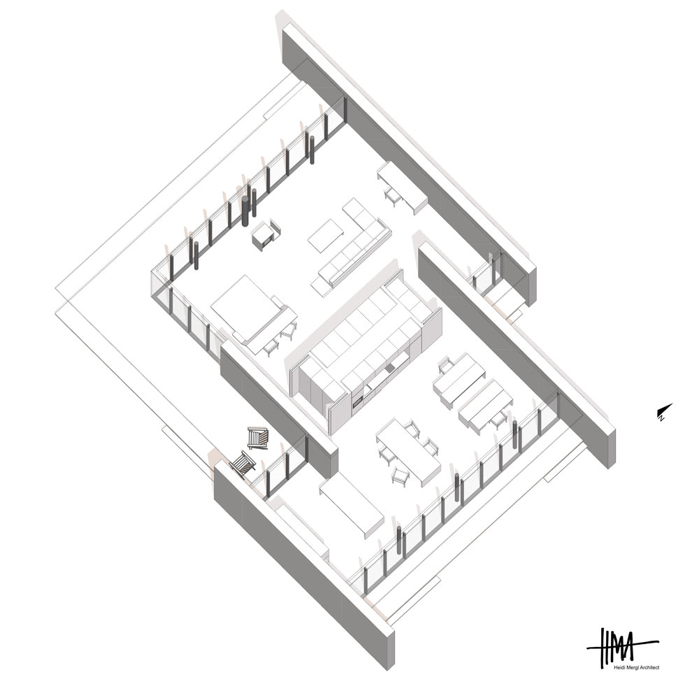 South east isometric of a contemporary open plan live and work property by Heidi Mergl Architect