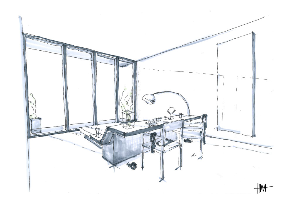 Bedroom design with a view out - perspective interior sketch by Heidi Mergl Architect