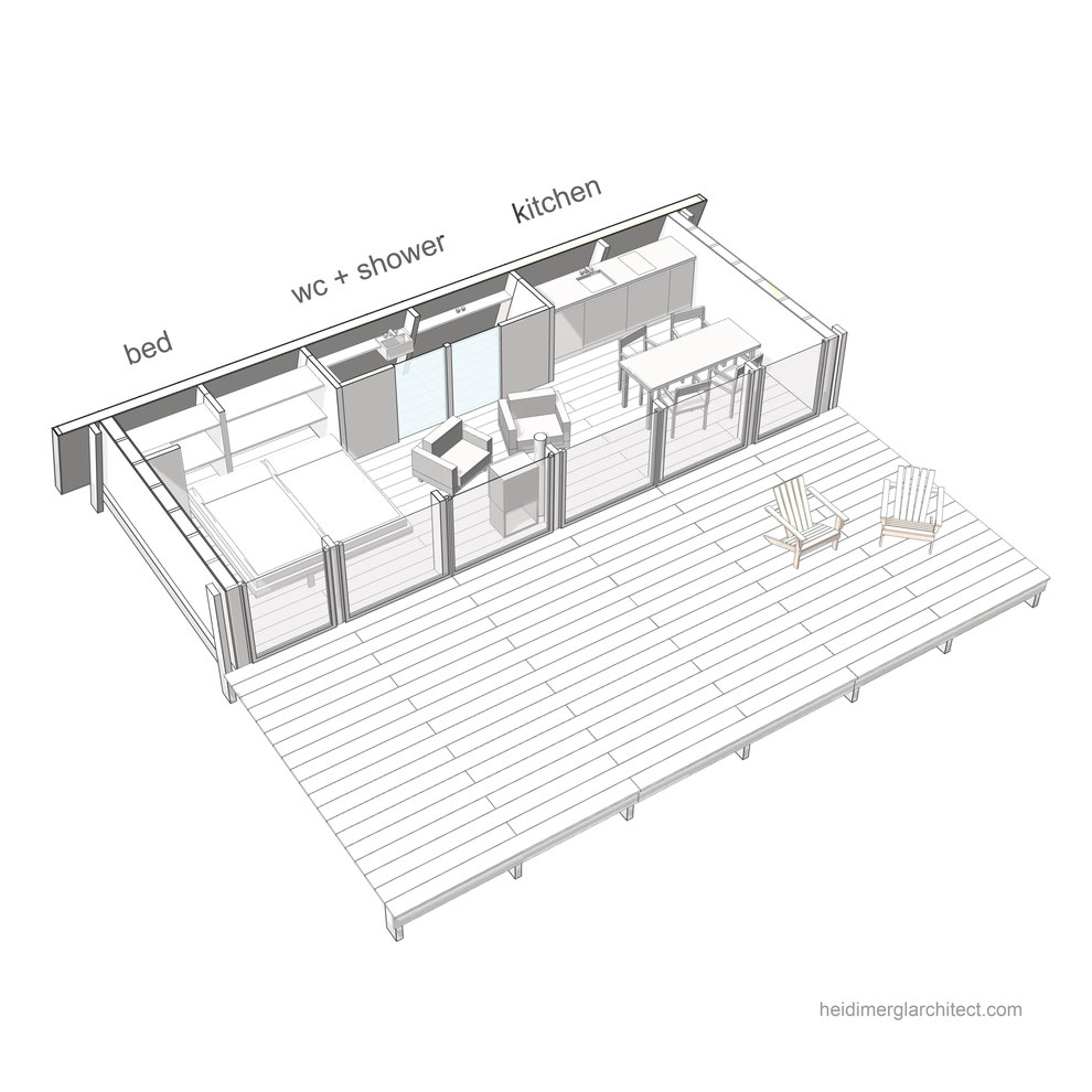 3D plan diagram of a small footprint home and its internal layout by Heidi Mergl Architect