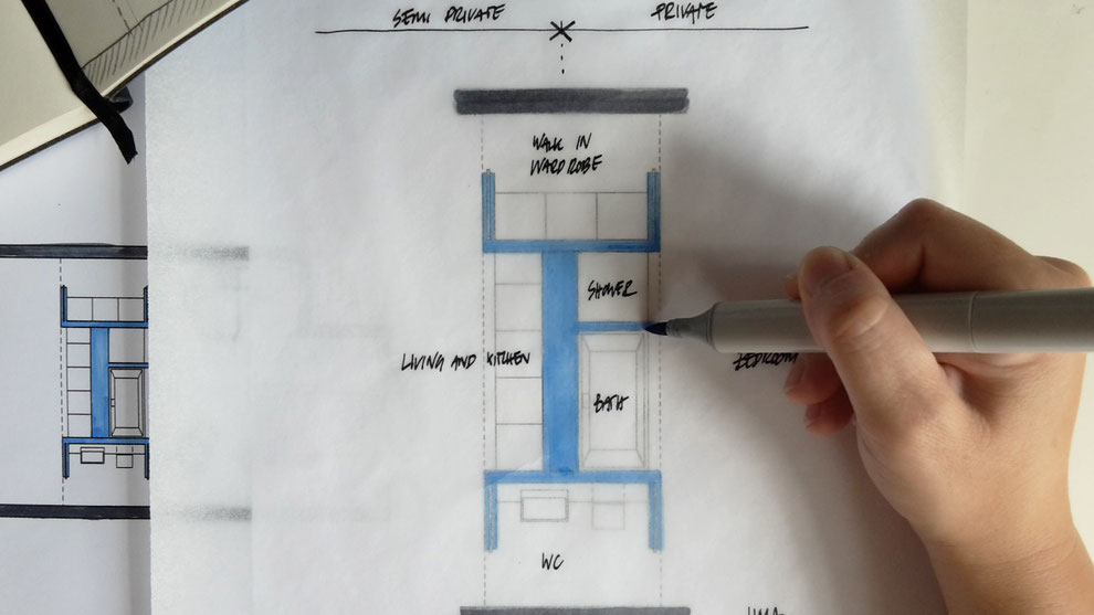 Room Divider Floor Plan Sketch by Heidi Mergl Architect
