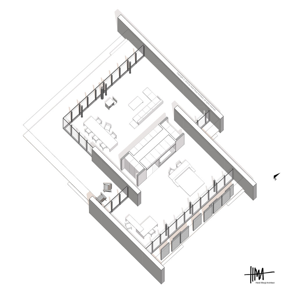 South east isometric of a contemporary open plan home by Heidi Mergl Architect the room divider concept