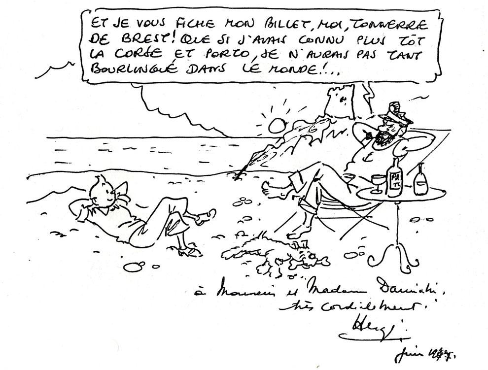 """Hergé en juin 1977 sur le livre d'or de l'hôtel """"Le Méditerranée"""" à Porto en Corse, à l'occasion d'un séjour qu'il avait passé sur ce site."""