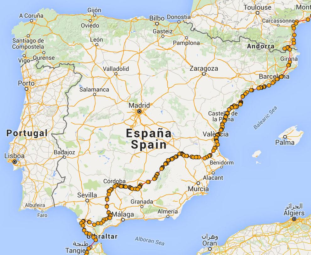 Itinéraire en Espagne