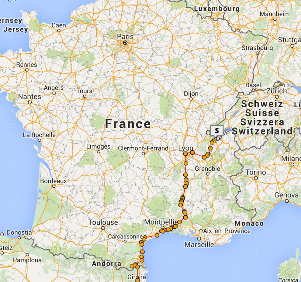 Itinéraire en France