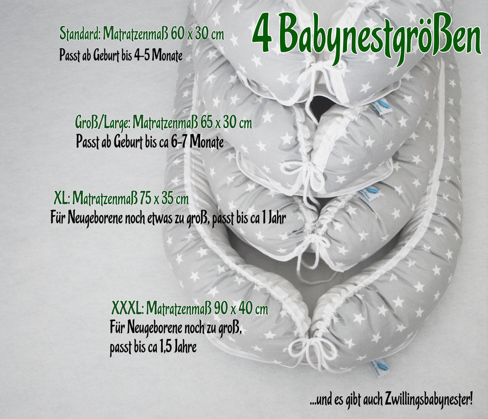 Es gibt vier Babynest-Größen: Standard, Groß/Large, XL, XXXL und sogar auch Zwillingsbabynester!
