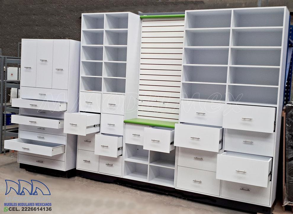 Anaqueles para farmacia, cajoneras para farmacia, estantes para farmacia, muebles para farmacia, mostradores para farmacia