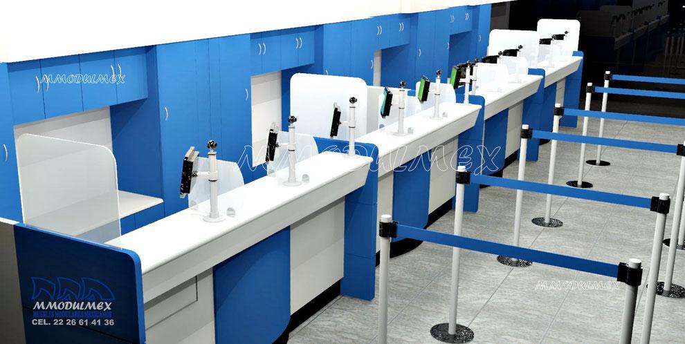 Diseño y fabricación de mostradores para casas de cambio, casas de empeño, sofoles, bancos, escuelas y negocios en general.