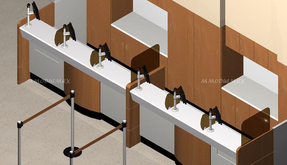 Diseño de Mostradores, recepciones, muebles para bancos y casas de cambio