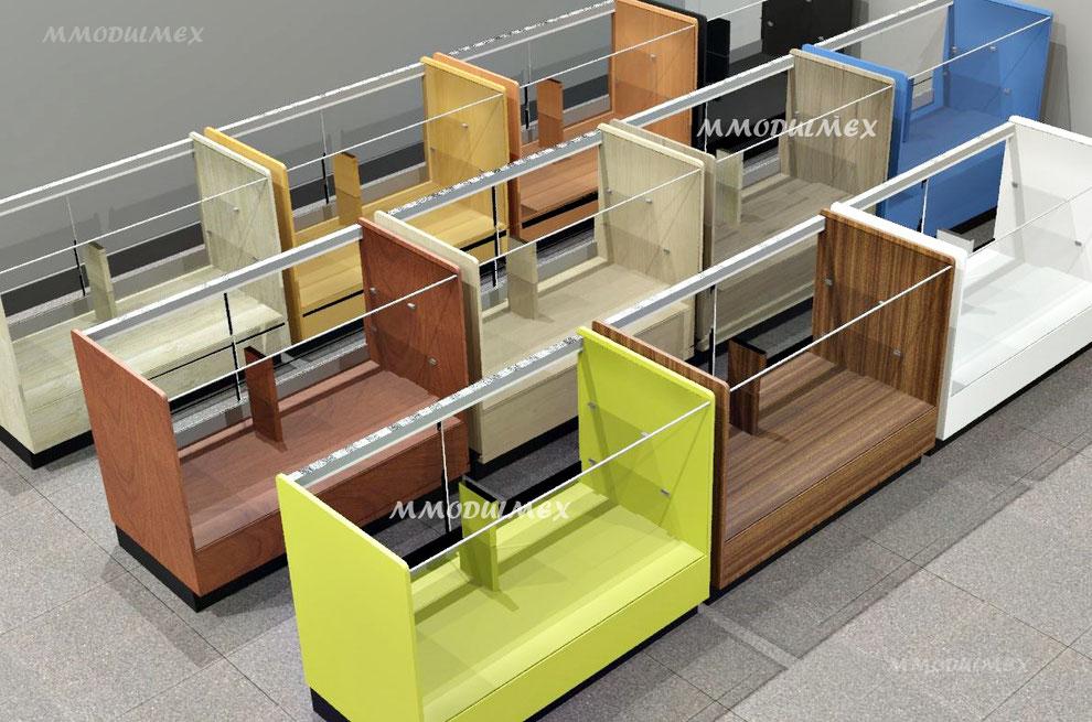 Diseño de Vitrinas para farmacias, vitrinas para papelerías, vitrinas para perfumerías.