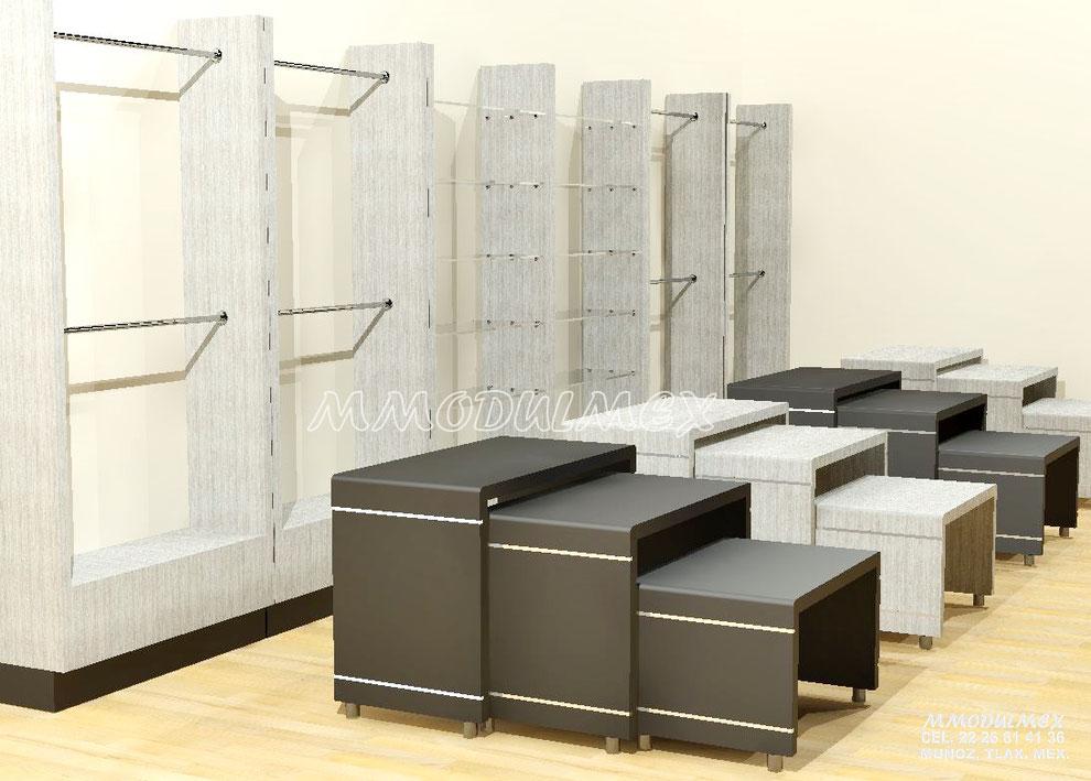 Diseño de muebles para ropa, muebles para ropa, exhibidores para ropa