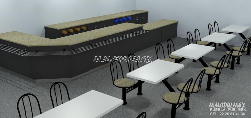 Diseño de Muebles para cafetería, mesas para cafetería