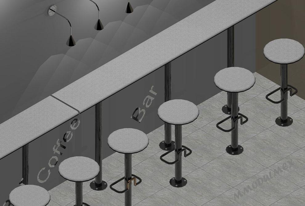 Diseño de Cubiertas de superficie sólida, muebles para cafetería, bancos para comedores