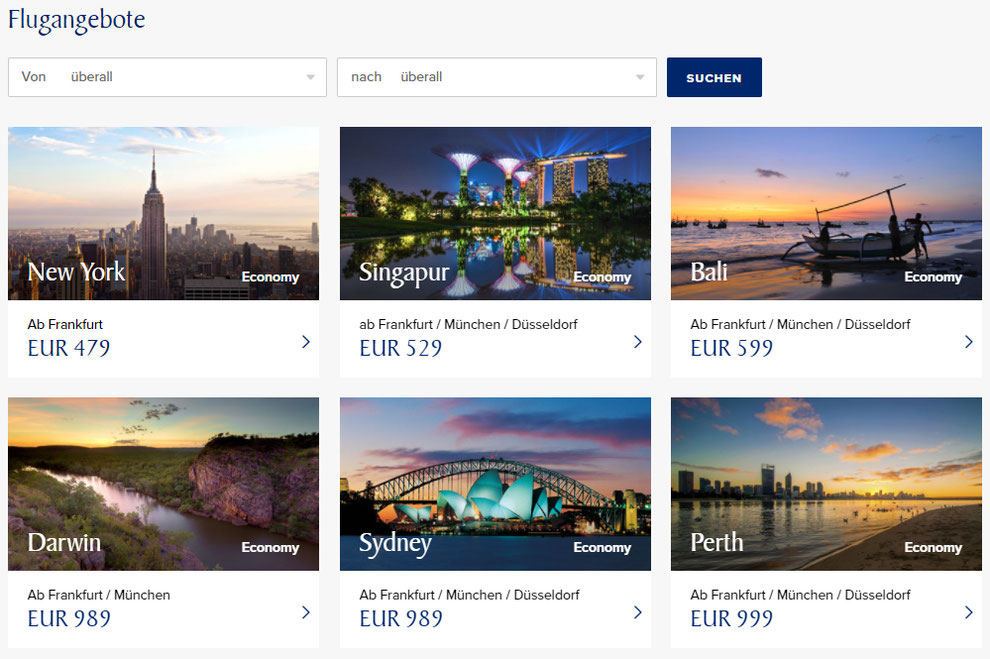 CheckEinfach | Singapore Airlines Superdeals Angebote