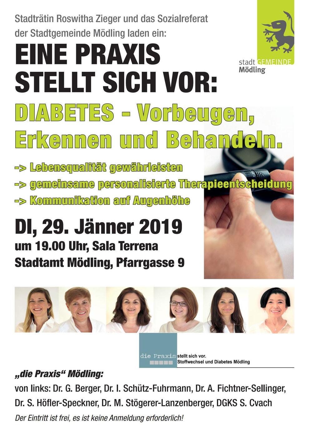 Vortrag Diabetes Mödling Roswitha Zieger Stadträtin Sozialreferat Stadtgemeinde Sala Terrena Stadtamt