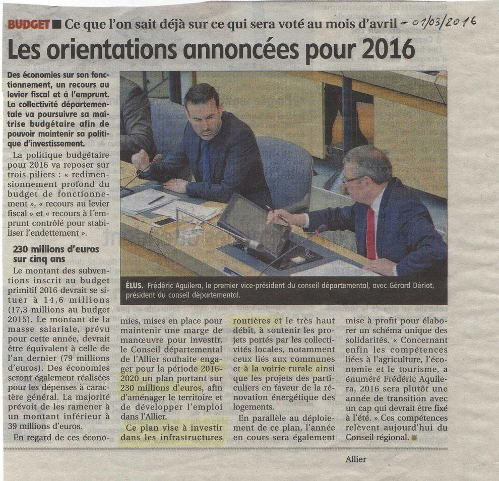 """07 janvier 2016 - Article """"La Montagne"""""""