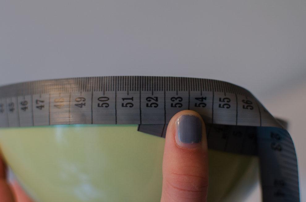 Umfang der Schüssel einfach ausmessen