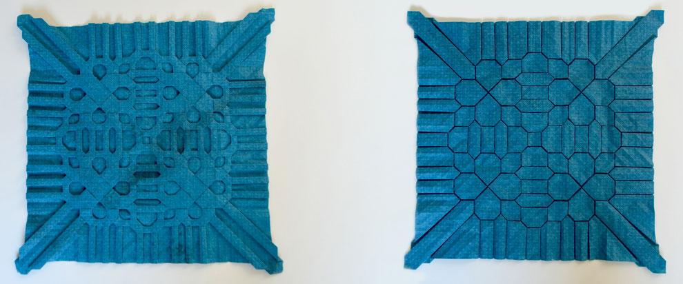 Origamimodell von Robin Scholz, Tessellation, gefaltet von ihm selbst aus handgeschöpftem Papier