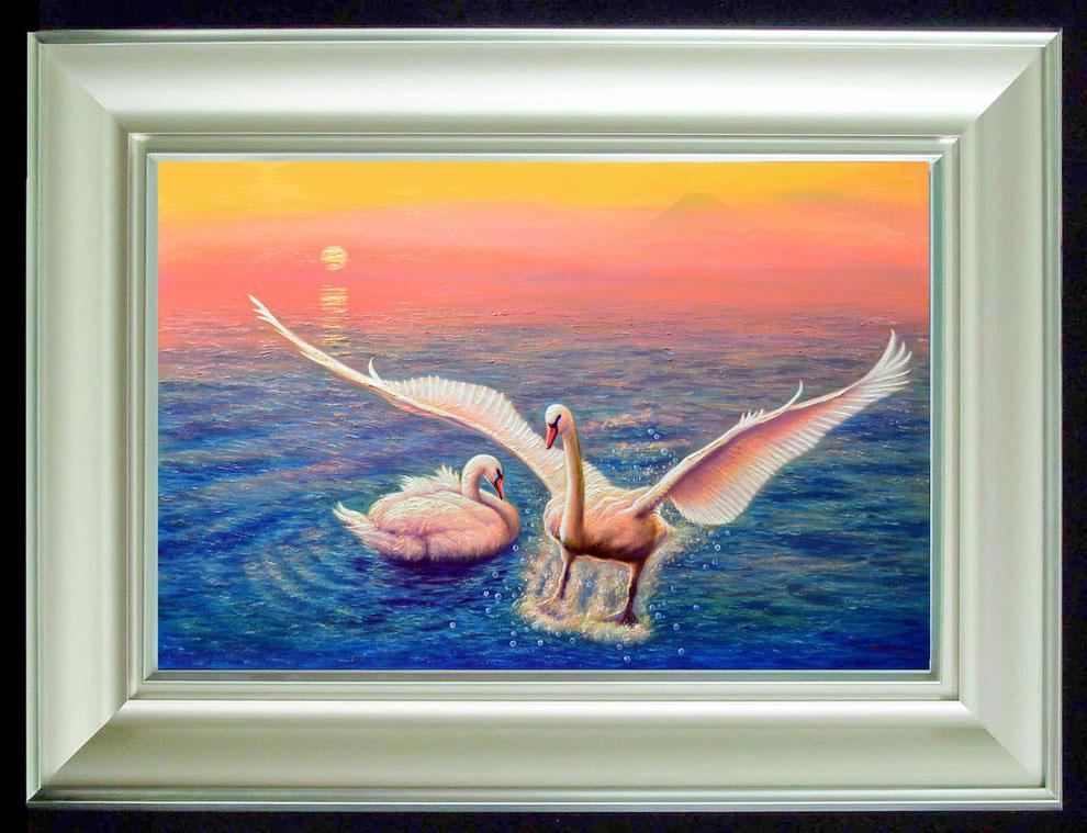 4.    夕焼けの江の島の白鳥  SIZE  910mmx727mm - 30 号 特      PRICE ¥ 15. 000. 000
